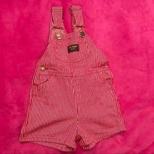 Vintage Oshkosh red white stripped short overall